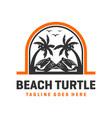 beach turtle logo design template vector image