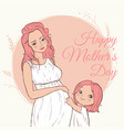 beautiful pregnant woman happy mothers day vector image vector image