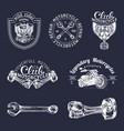 biker club signs motorcycle repair logos vector image vector image