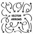 black hand drawn arrows set on white background vector image vector image