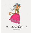 Bohemian fashion girl cat boho style vector image vector image