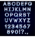 bold chrome and blue neon alphabet letters on dark vector image