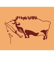 bull frightened man and weft vector image vector image