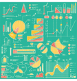 business charts graphs stats doodles set vector image vector image