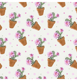 Cactus Background Seamless Pattern Exotic Plant vector image vector image