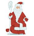 cartoon santa claus with magic staff and gift bag vector image