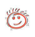 cartoon simple smile icon in comic style hand vector image vector image
