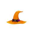 cartoon witch hat icon wizard orange cap vector image vector image