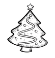 christmas tree doodle vector image vector image