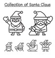 collection christmas santa claus in thin line vector image vector image