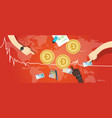 doge coin decrease exchange value digital virtual vector image vector image