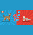 dogs vs cats concept background with cute pets vector image