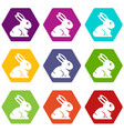 easter bunny icon set color hexahedron vector image vector image