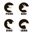 farm animals labels vector image vector image