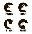 farm animals labels vector image