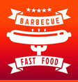 fast food or barbecue label on flame color vector image vector image