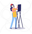 female painter drawing in art studio using easel vector image vector image
