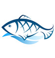 fish silhouette on wave vector image vector image