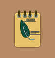 flat icon design collection notebook and leaf vector image vector image