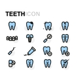 flat teeth icons set vector image vector image