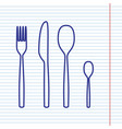 fork spoon and knife sign navy line icon vector image