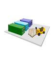 Forklift Truck Loading Shipping Box into Container vector image vector image