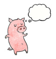 funny cartoon pig with thought bubble vector image vector image