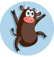 funny ox dancing celebrating cartoon vector image vector image