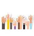 hand different nations and race show ok vector image