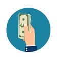 Hand holding or showing money bills vector image vector image