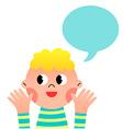 happy cartoon boy with speak bubble vector image vector image