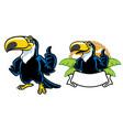 happy toucan cartoon set vector image vector image