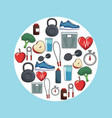 healthy lifestyle concept sport icons vector image vector image