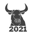 hedd bull silhouette full face drawn with one vector image vector image