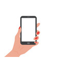 human hand holding smartphone with empty screen vector image vector image