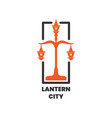 lantern city pole logo design inspiration vector image vector image