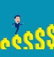 man climbing dollar sign step financial concept vector image