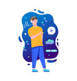 man using headphones listen to music with mobile vector image vector image