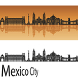 Mexico City V2 skyline in orange vector image vector image