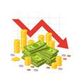money loss red down arrow stocks graph vector image
