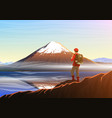 mountain fuji with tourist morning panoramic view vector image vector image