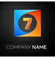 Number seven logo symbol in the colorful square on vector image vector image
