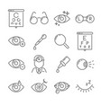 optometry eyes health and oculist tools medical vector image