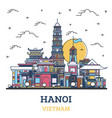 outline hanoi vietnam city skyline with colored vector image vector image