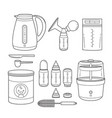 outline icons set of equipment for feeding baby vector image vector image
