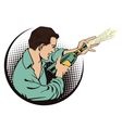 People in retro style Man with champagne vector image