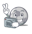 photographer football character cartoon style vector image vector image