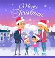 postcard with merry christmas on city background vector image vector image
