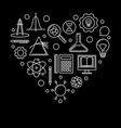 school heart linear i love vector image
