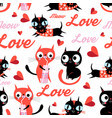 seamless cartoon funny pattern cats in love vector image vector image